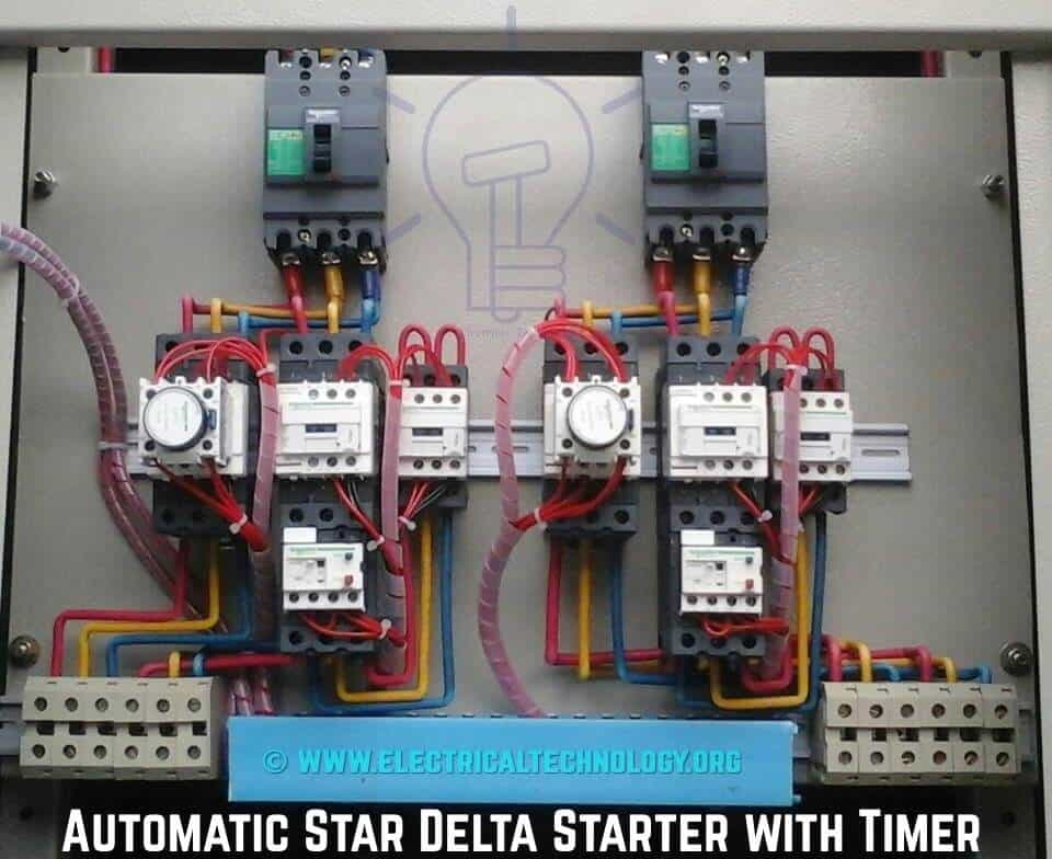 star delta 3 phase motor automatic starter with timer rh electricaltechnology org star delta starter wiring diagram explanation pdf star delta starter wiring diagram in hindi