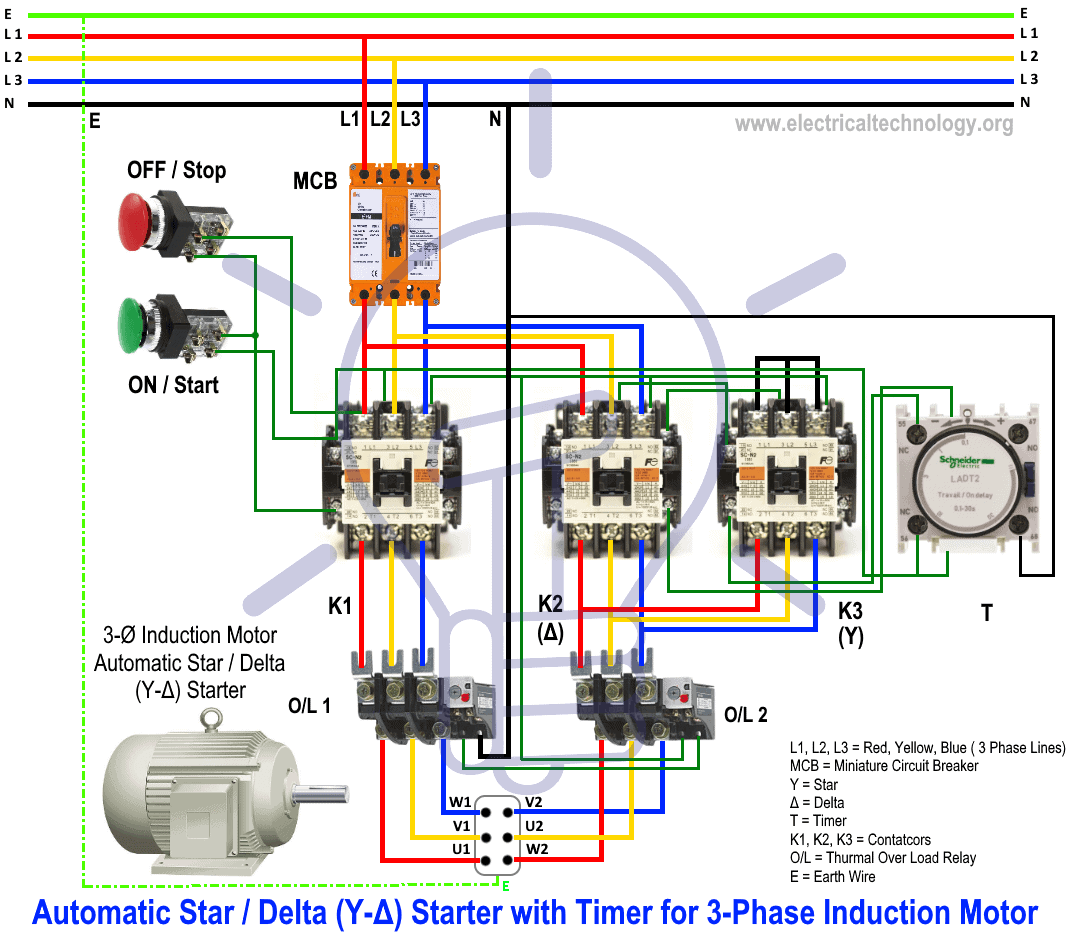 Star Delta Starter - (Y-Δ) Starter Power, Control and Wiring ... on