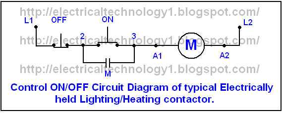 Diagrame of Simple Contactor circuit typical onoff control circuit for an electrically held lightingheating contactor. electricaltechnology1.blogspot.com_. one line diagram of simple contactor circuit electrically held contactor wiring diagram at reclaimingppi.co