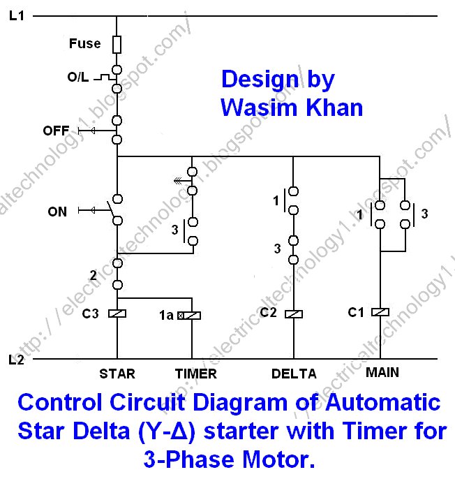 Star Delta 3-phase Motor Automatic starter with Timer Control Circuit Diagram: