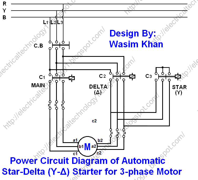 Star Delta 3-phase Motor Automatic starter with Timer Power Circuit Diagram: