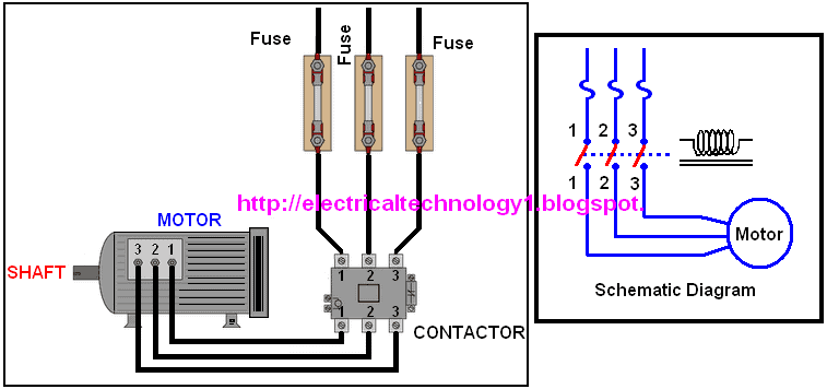 Wiring Diagram For A 3 Phase Motor Starter : A simple circuit diagram of contactor with three phase motor