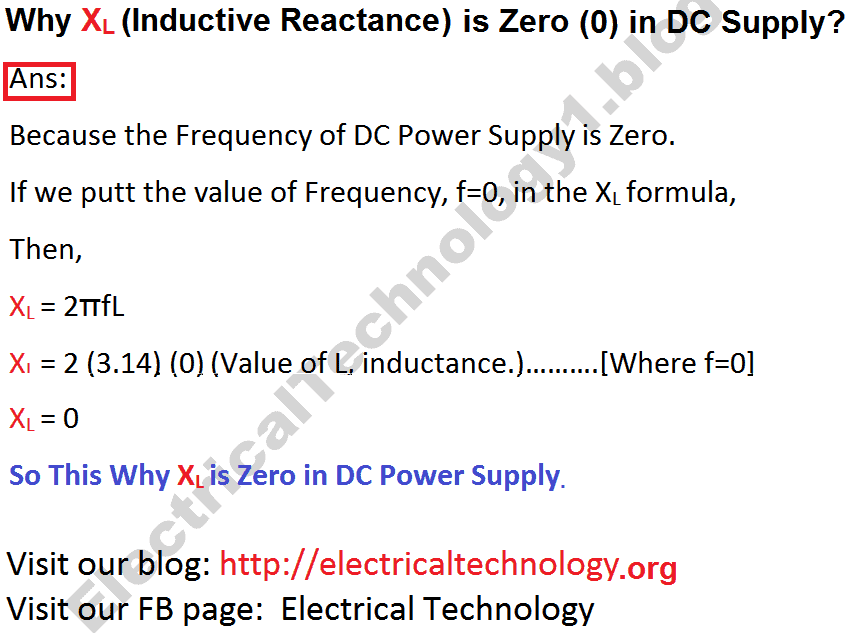 Why XL Inductive Reactance In DC Supply Is Zero (0)?