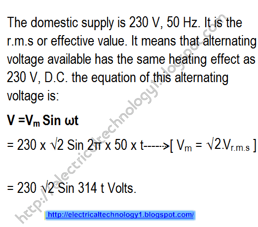 AC Voltage at home is 230V but its equation is v=Vm Sin φ. Explain the difference?