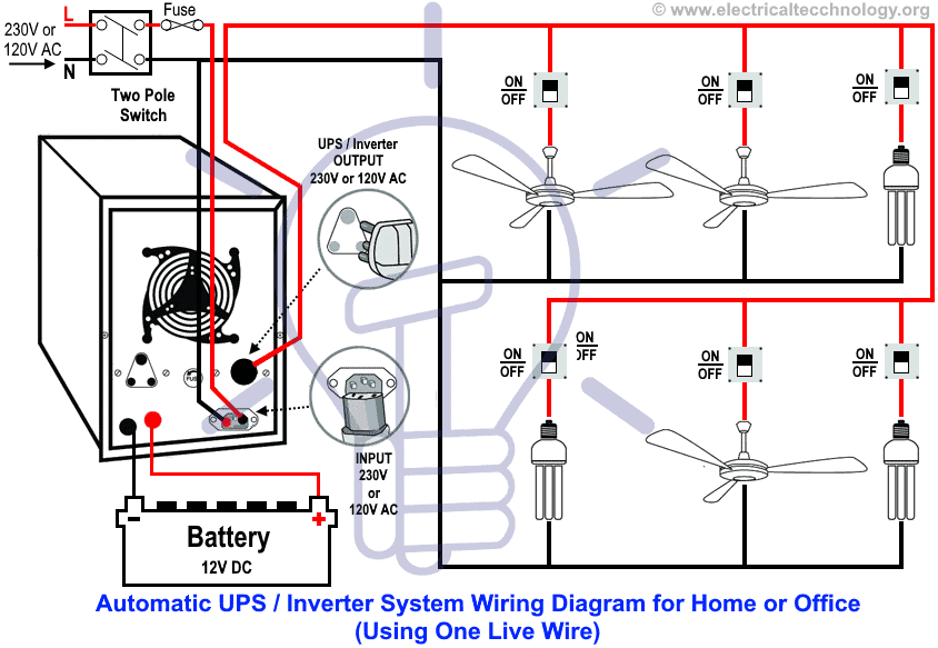 automatic ups inverter wiring \u0026 connection diagram to the homeautomatic ups inverter system wiring diagram (one live wire)