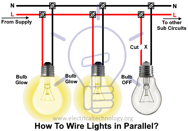 How To Wire Lights In Parallel Switches Bulbs Connection In Parallel