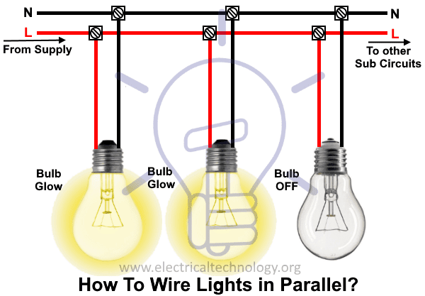 how to wire lights in parallel switches bulbs connection in parallel rh electricaltechnology org Lights in Series or Parallel Wiring Lights in Series or Parallel Wiring