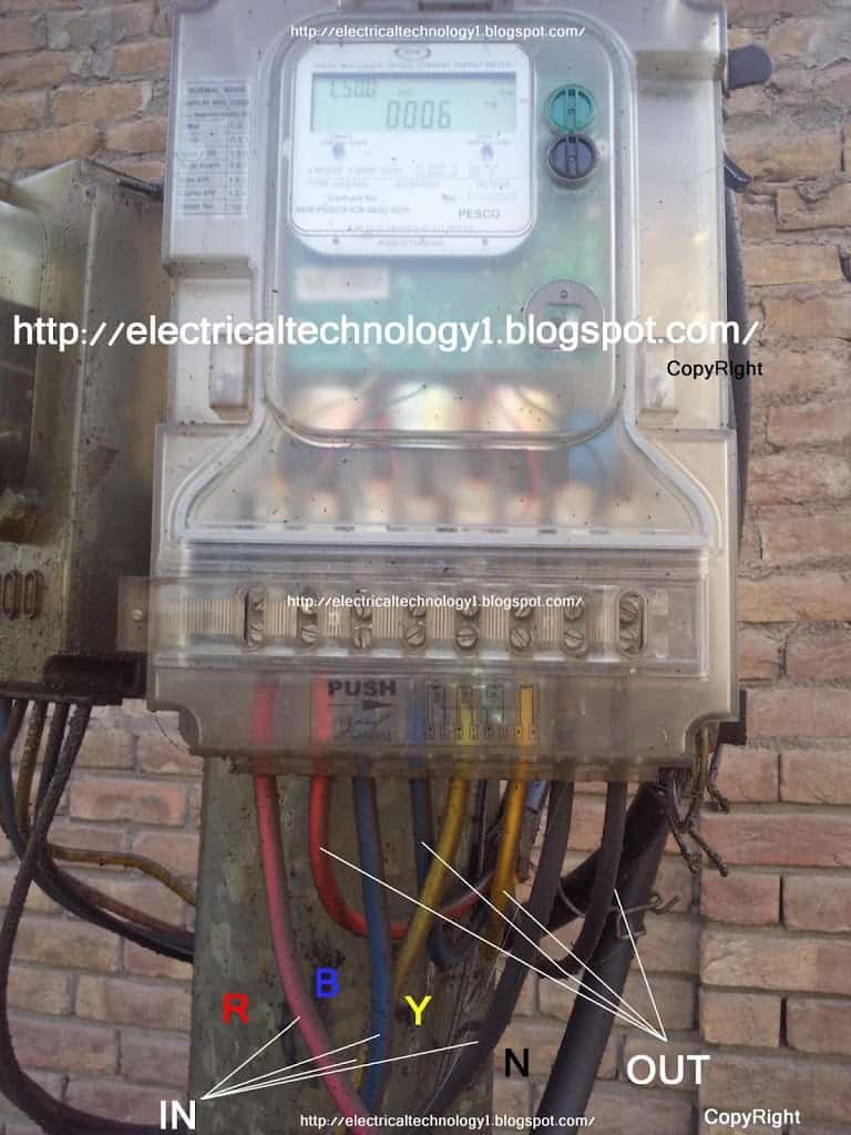 Electrical Wiring Diagram For Three Way Switch : How to wire phase kwh meter electrical technology