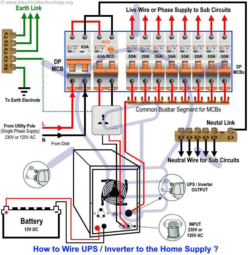 automatic ups inverter wiring \u0026 connection diagram to the homehow to wire ups inverter to the home supply