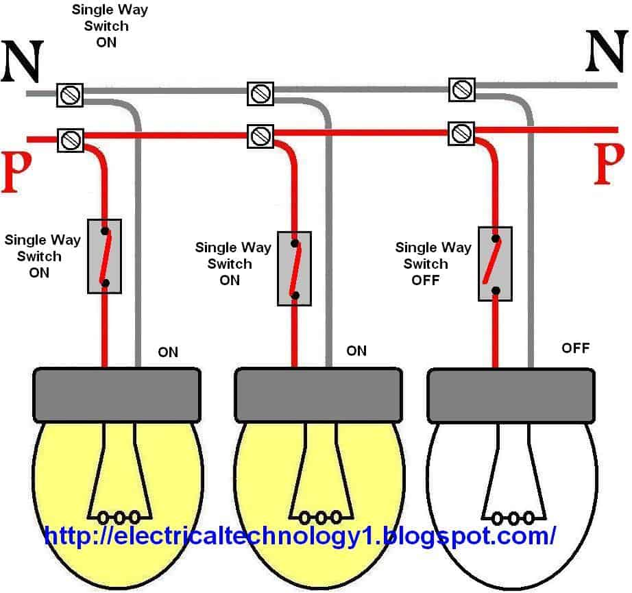 How to control each lamp by separately switch in parallel lighting circuit...httpelectricaltechnology1.blogspot.com_ wiring a light switch control each lamp by separately switch 1 way lighting circuit wiring diagram at gsmx.co