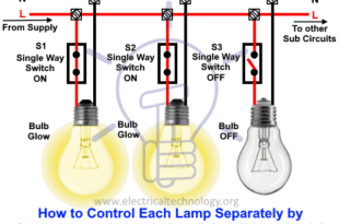 How to control each lamp separately by single way switches in parallel lighting circuits