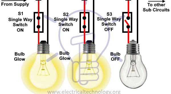 How To Control Each Lamp By Separately Switch In Parallel