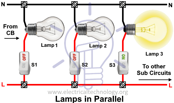how to wire lights in parallel switches bulbs connection in parallel rh electricaltechnology org wiring house lights in parallel diagram wiring can lights in parallel diagram
