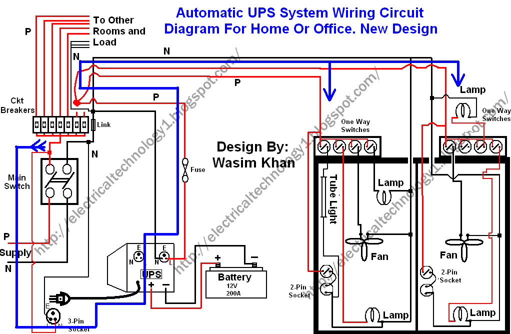 automatic ups system wiring circuit diagram home/office, house wiring