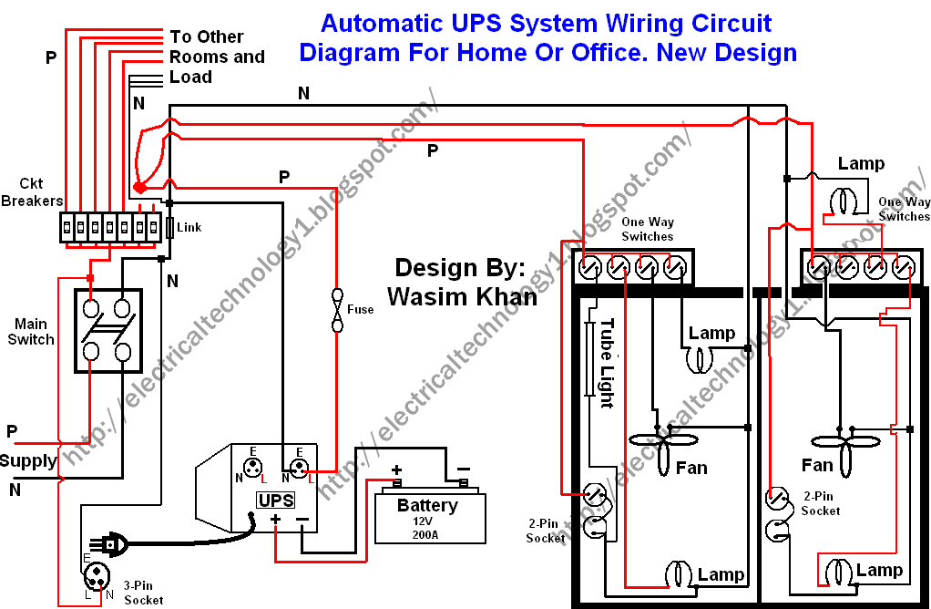 Automatic ups system wiring circuit diagram home office for Household electrical circuit design