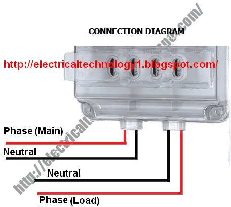 how to wire a single phase kwh meter installation of 1 phase energy rh electricaltechnology org single phase energy meter wiring diagram single phase electric meter wiring diagram