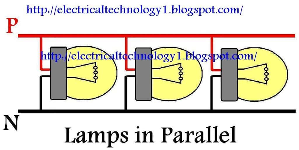 httpelectricaltechnology1.blogspot.com how to wire lamps in parallel how to wire lights in parallel? electrical technology wiring in parallel diagram at soozxer.org