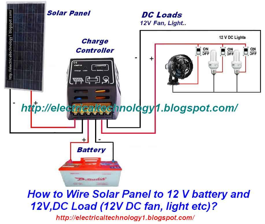 how to wire solar panel to 12v battery and 12v dc load rh electricaltechnology org 12V Solar Panel Wiring Diagram 6V to 12V Wiring Diagram