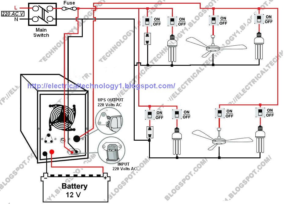 automatic ups system wiring diagram in case of some items depends on rh electricaltechnology org Home Electrical Wiring Codes home electrical wiring items list