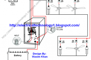 Automatic UPS system wiring circuit diagram for Home or Office (New Design With One Live Wire)