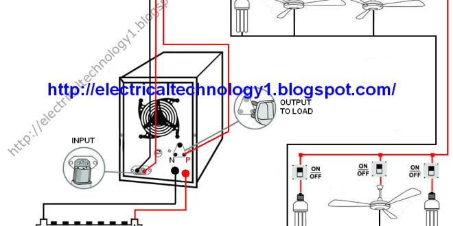 automatic ups system wiring circuit diagram for home or office rh electricaltechnology org inverter ac wiring diagram pdf inverter ac wiring diagram pdf