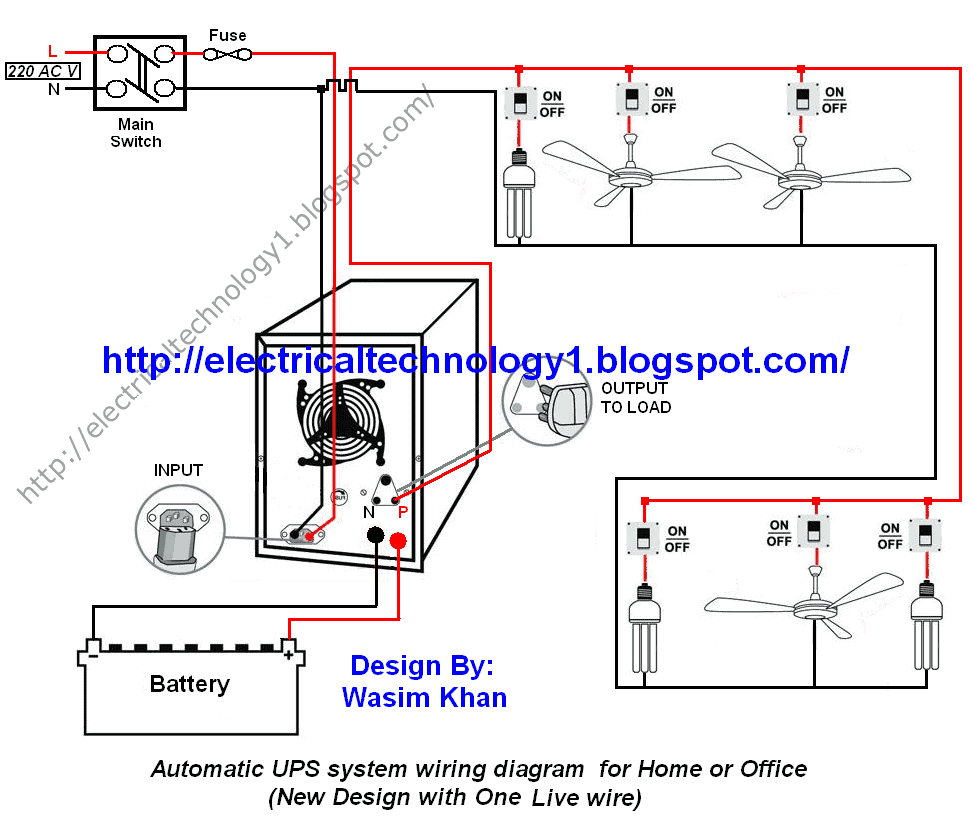 automatic ups system wiring circuit diagram for home or office rh electricaltechnology org house wiring connection diagram hostel wiring connection diagram
