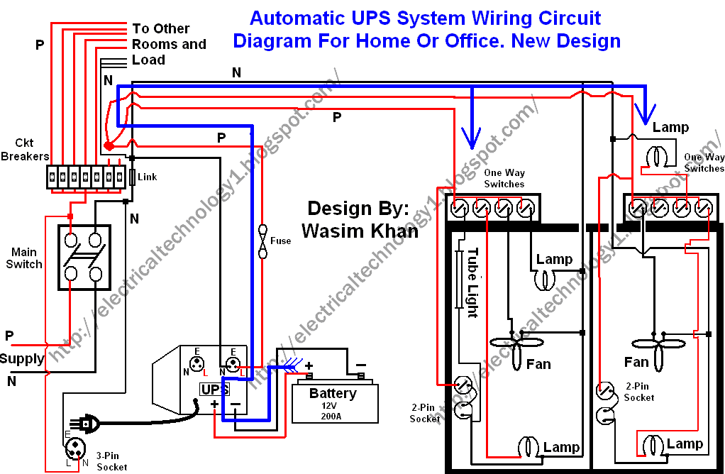 Automatic UPS system wiring circuit diagram (New Design Very simple) for Home or Office
