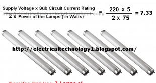 How To Find/Calculate the Number of Fluorescent Lamps in a Sub Circuit?
