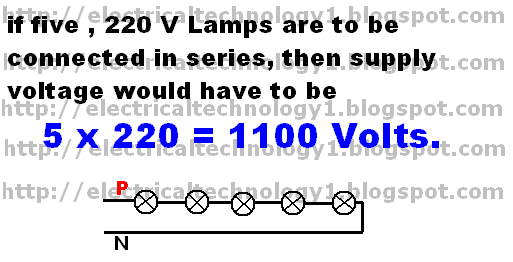 What is the objection to have lamps in a house-lighting circuit connected in series?