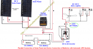 How To Wire Two 24V Solar Panels in Parallel with Two, 12V Batteries in Series with Automatic UPS System (For 24 V System)? (OR) Parallel Connection of Solar Panel and Series Connection of Batteries with Automatic UPS System.