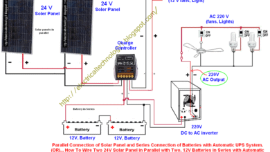 Photo of How To Wire Two 24V Solar Panels in Parallel with Two, 12V Batteries in Series with Automatic  UPS System (For 24 V System)? (OR)  Parallel Connection of Solar Panel and Series Connection of Batteries with Automatic UPS System.