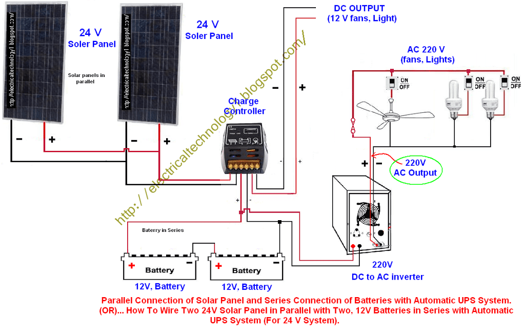 how to wire two 24v solar panels in parallel with two 12v batteries rh electricaltechnology org Solar Panel Series Then Parallel Wiring 24V Solar Panels
