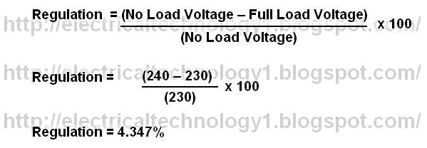 For Example Suppose A Transformer Has No Load Voltage Of 240 Volts And Full 230 The Transformers Regulation Is Calculated As