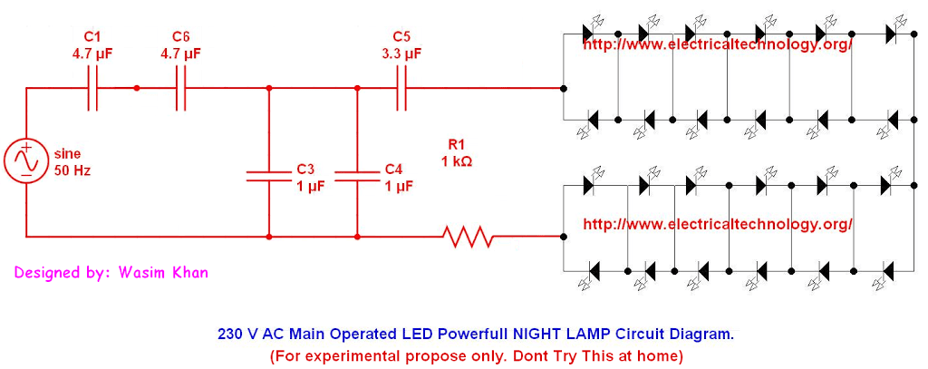 230 v 50hz ac (or 110v 60hz) main operated led powerful night lamp, Wiring diagram