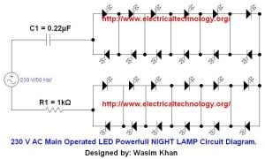 230V AC Main LED Night lamp