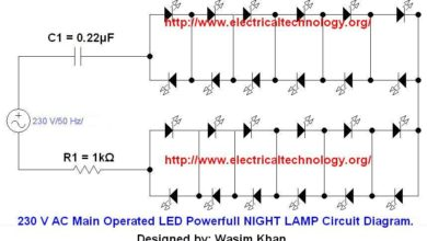 Photo of 230 V 50Hz AC (or 110V 60Hz) Main Operated LED Powerful NIGHT LAMP Circuit Diagram.