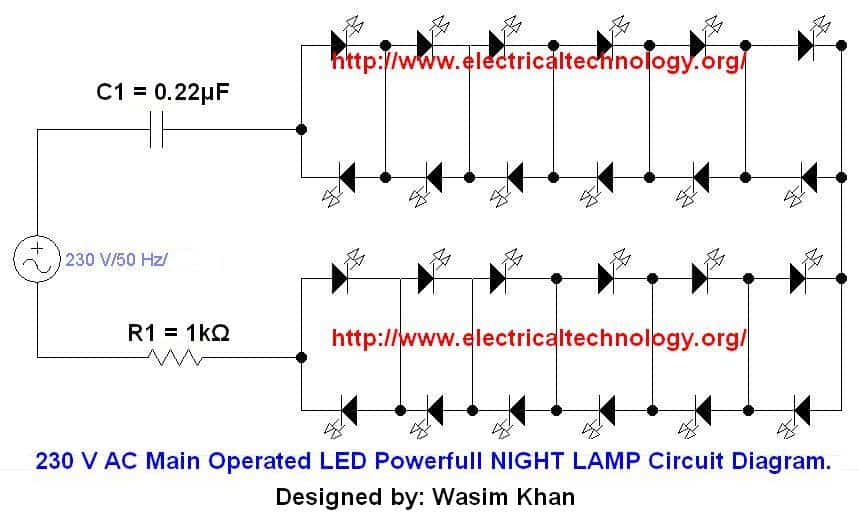 230 V AC Main Operated LED Powerfull NIGHT LAMP Circuit Diagram http www.electricaltechnology org 230 v 50hz ac (or 110v 60hz) main operated led powerful night lamp led circuit diagrams at gsmportal.co