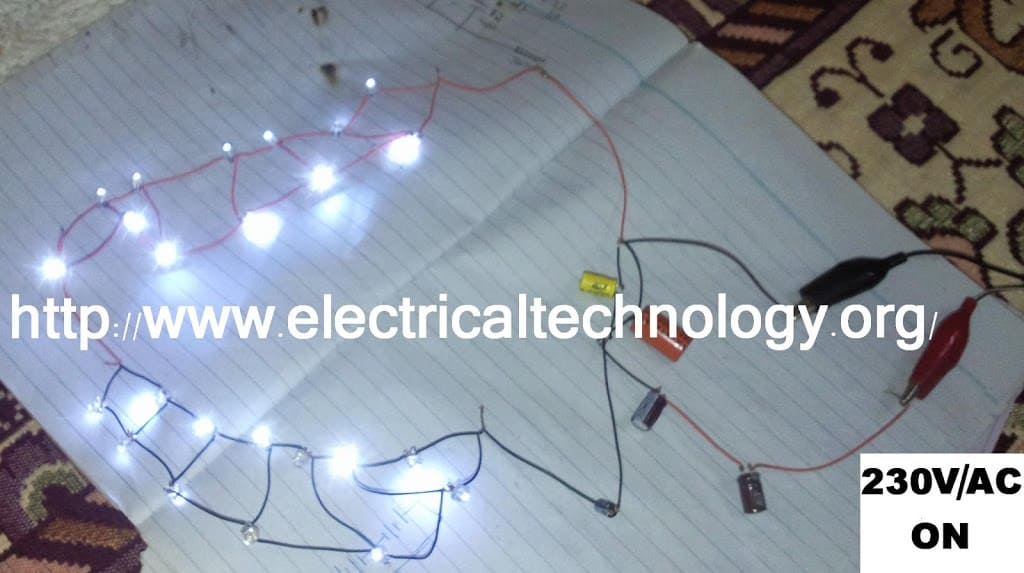 4 230 V AC Main Operated LED Powerfull NIGHT LAMP Circuit Diagram http www.electricaltechnology org 230 v 50hz ac (or 110v 60hz) main operated led powerful night lamp T8 LED Wiring Diagram at reclaimingppi.co
