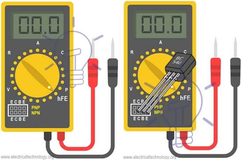 Check Transistor in Digital Multimeter with Transistor or hFE or Beta Mode