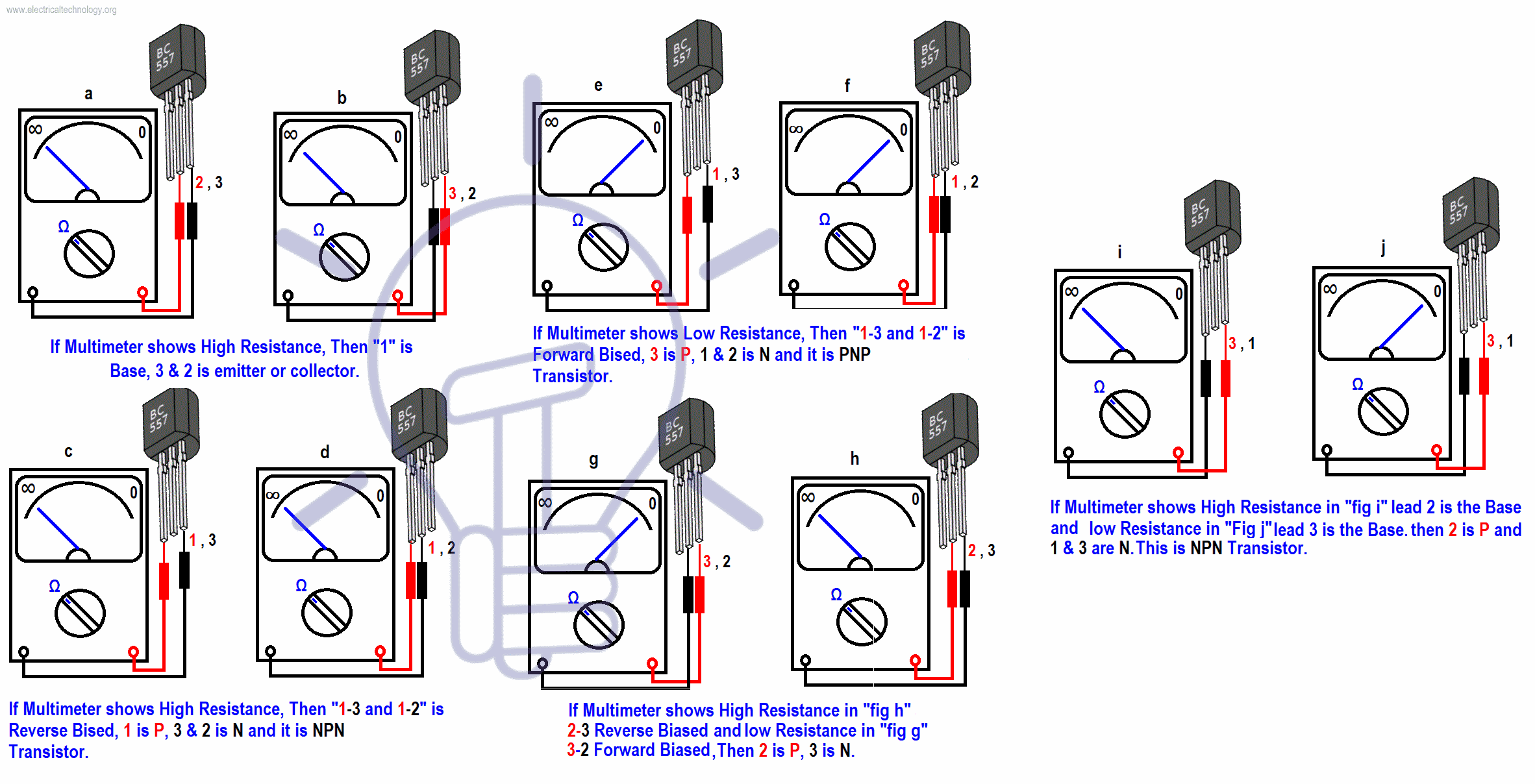 How To Check A Transistor By Multimeter Dmm Avo Npn Pnp 4 Ways Dc Wiring Diagrams With Analog Or Digital In Ohm Range Mode