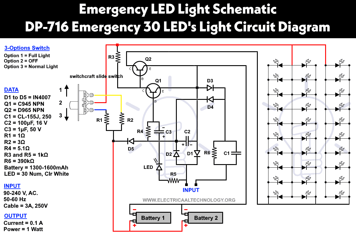 Automatic Low Power Emergency Light Circuit Diagram | Emergency Led Lights Powerful Cheap Led 716 Circuit
