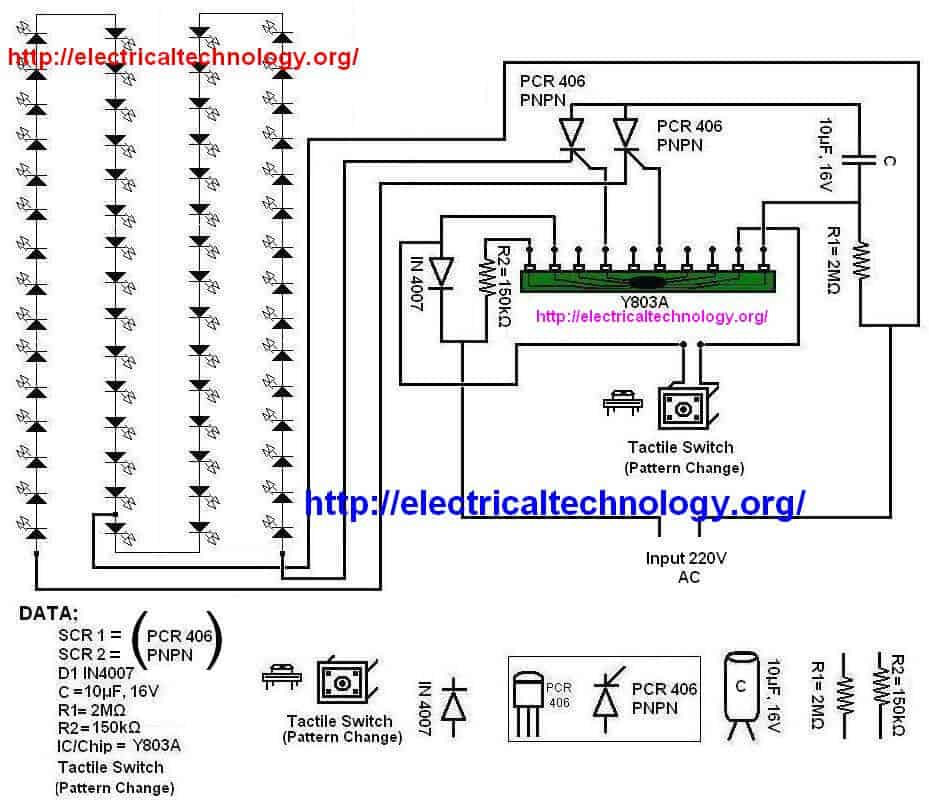 Basic X-MAS LED Flashing String Array Circuit