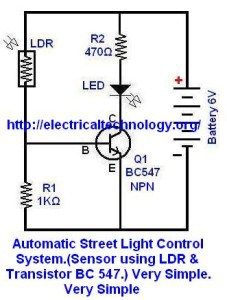 Led Stringstrip Circuit Diagram Using furthermore Automatic Street Light in addition Automaticstreetlightcontrolsystemsensorusingldrtransistorbc547verysimple further Bc547 Pinout Wiring Diagrams likewise One Line Diagrame Of Simple Contactor. on automatic street light control using ldr circuit diagram 2