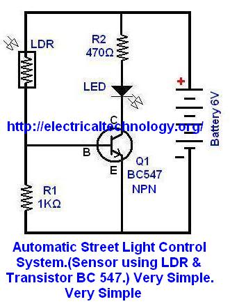 Automatic Street Light Control System using LDR & Transistor BC 547 Schematic Diagram