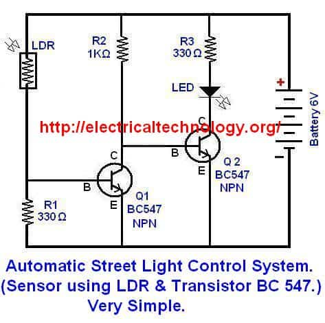 Circuit Diagram of .Automatic Street Light Control System.(Sensor using LDR & Transistor BC 547.