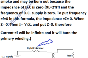 Under what condition is D.C supply applied safely to the primary of a transformer?