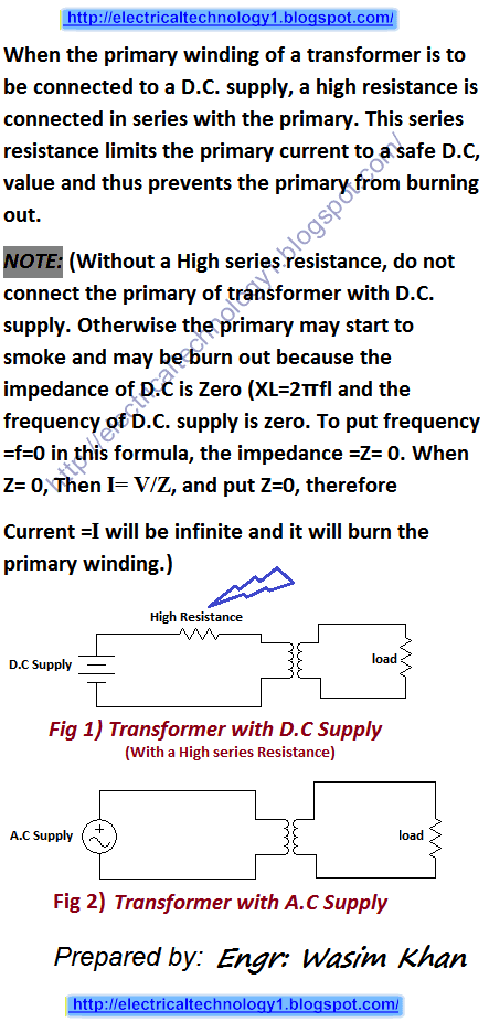 How to Connect a Transformer to DC Supply? Conditions?