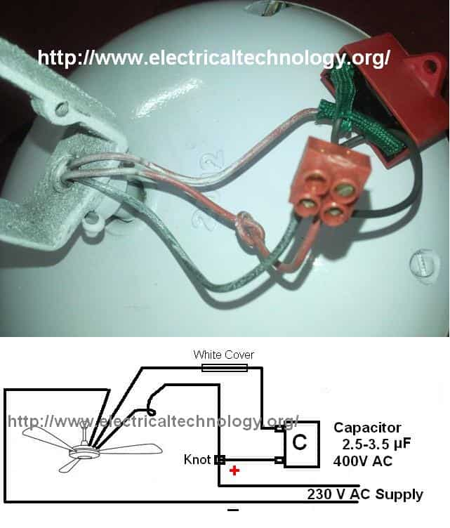 how to connect/install a capacitor with a ceiling fan part, wiring diagram