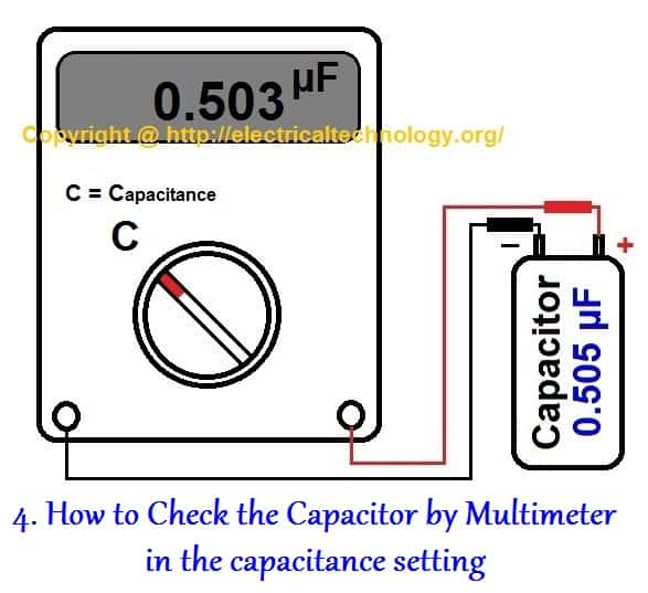 How to Test a Capacitor by Digital & og Multimeter - 6 Methods  Pin Wiring Diagram Capacitor on vga pinout diagram, 4 pin plug, 4 pin socket diagram, 4 pin relay, 4 pin round trailer wiring, 4 pin trailer harness, 4 pin wiring chart, 4 pin harness diagram, 110cc wire harness diagram, s-video pin diagram, 4 pin sensor diagram, 4 pin wire harness, 4 pin connector, 4 pin fan diagram, 4 pin trailer diagram, 4 pin cable, 4 pin fuse, and 4 pin input diagram, 4 pin switch, 4 pin voltage,