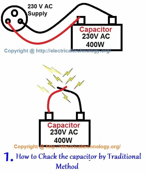 How to test a capacitor 6 ways to check a capacitor electrical eng how to check a capacitor with digital multimeter and analog avo meter five methods greentooth Images